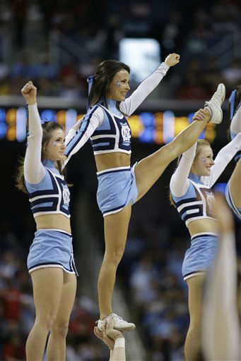 "<div class=""meta ""><span class=""caption-text "">North Carolina cheerleaders perform during the first half of an NCAA college basketball game against Maryland in the semifinals of the Atlantic Coast Conference tournament in Greensboro, N.C., Saturday, March 16, 2013. (AP Photo/Bob Leverone) (AP Photo/ Bob Leverone)</span></div>"