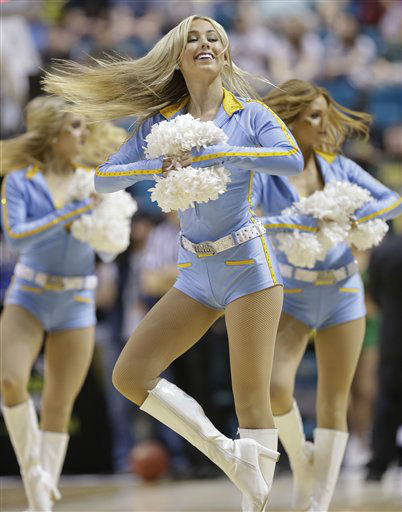 UCLA cheerleaders perform during a timeout of the second half of the Pac-12 tournament championship NCAA college basketball game, Saturday, March 16, 2013, in Las Vegas. &#40;AP Photo&#47;Julie Jacobson&#41;  <span class=meta>(AP Photo&#47; Julie Jacobson)</span>