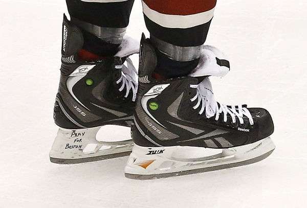 "<div class=""meta ""><span class=""caption-text "">Phoenix Coyotes' Keith Yandle, who is from Boston, skates on the ice with ""Pray For Boston"" on the inside his left skate as a tribute to those victims of the bombing at the Boston Marathon in the third period during an NHL hockey game against the San Jose Sharks, on Monday, April 15, 2013 in Glendale, Ariz.  The Sharks defeated the Coyotes 4-0.   (AP Photo/ Ross D. Franklin)</span></div>"