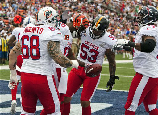 Miami Dolphins guard Richie Incognito &#40;68&#41;, Pittsburgh Steelers center Maukice Pouncey &#40;53&#41;, and Houston Texans guard Wade Smith &#40;74&#41;, all of the AFC, congratulate teammate Cincinnati Bengals wide receiver A.J. Green &#40;18&#41; on his touchdown against the NFC during the first quarter of the NFL football Pro Bowl game in Honolulu, Sunday, Jan. 27, 2013. &#40;AP Photo&#47;Marco Garcia&#41; <span class=meta>(AP Photo&#47; Marco Garcia)</span>