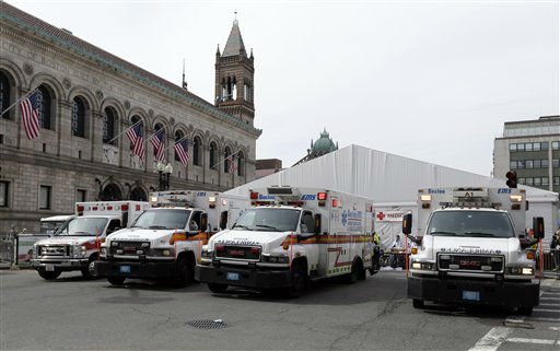 "<div class=""meta ""><span class=""caption-text "">Ambulances sit outside the medical tent at the Boston Marathon finish area in the aftermath of two blasts at the 2013 Boston Marathon finish area in Boston Monday, April 15, 2013.  Two bombs exploded near the finish line of the Boston Marathon on Monday, killing at least  two people, injuring at least 23 others  (AP Photo/Elise Amendola) (AP Photo/ Elise Amendola)</span></div>"