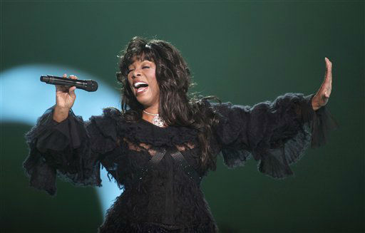 FILE - This Dec. 11, 2009 file photo shows Donna Summer performing at the Nobel Peace concert in Oslo, Norway. The eclectic group of rockers Rush and Heart, rappers Public Enemy, songwriter Randy Newman, &#34;Queen of Disco&#34; Donna Summer and bluesman Albert King will be inducted into the Rock and Roll Hall of Fame next April in Los Angeles. The inductees were announced Tuesday by 2012 inductee Flea of The Red Hot Chili Peppers at a news conference in Los Angeles. &#40;AP Photo&#47;John McConnico, file&#41; <span class=meta>(AP Photo&#47; John McConnico)</span>
