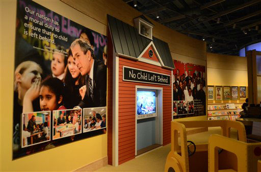 "<div class=""meta image-caption""><div class=""origin-logo origin-image ""><span></span></div><span class=""caption-text"">In this photo taken April 16, 2013, an exhibit on the ""No Child Left Behind"" initiative is shown in the museum area at the George W. Bush Presidential Library and Museum in Dallas. The museum uses everything from news clips to interactive screens to artifacts to tell the story of Bush?s eight years in office. The George W. Bush Presidential Center, which includes the library and museum along with 43rd president?s policy institute, will be dedicated Thursday on the campus of Southern Methodist University in Dallas. (AP Photo/Benny Snyder) (AP Photo/ Benny Snyder)</span></div>"