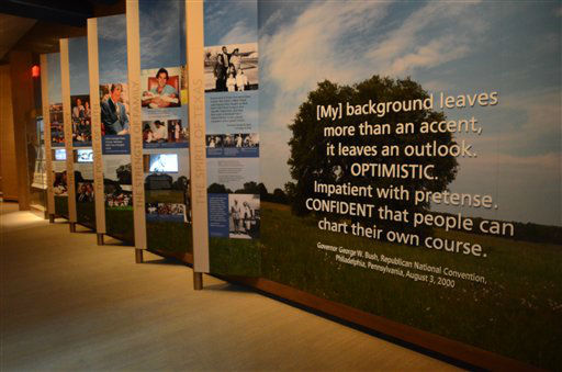 In this photo taken April 16, 2013, a quote from the 2000 Republican National Convention by George W. Bush greets visitors to the museum exhibit section of the George W. Bush Presidential Library and Museum in Dallas. The museum uses everything from news clips to interactive screens to artifacts to tell the story of Bush?s eight years in office. The George W. Bush Presidential Center, which includes the library and museum along with 43rd president?s policy institute, will be dedicated Thursday on the campus of Southern Methodist University in Dallas.  &#40;AP Photo&#47;Benny Snyder&#41; <span class=meta>(AP Photo&#47; Benny Snyder)</span>
