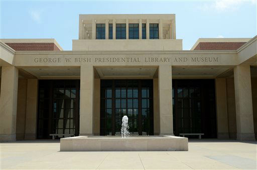 In this photo taken April 16, 2013, the main entrance courtyard is shown at the George W. Bush Presidential Library and Museum in Dallas. The museum uses everything from news clips to interactive screens to artifacts to tell the story of Bush?s eight years in office. The George W. Bush Presidential Center, which includes the library and museum along with 43rd president?s policy institute, will be dedicated Thursday on the campus of Southern Methodist University in Dallas. &#40;AP Photo&#47;Benny Snyder&#41; <span class=meta>(AP Photo&#47; Benny Snyder)</span>