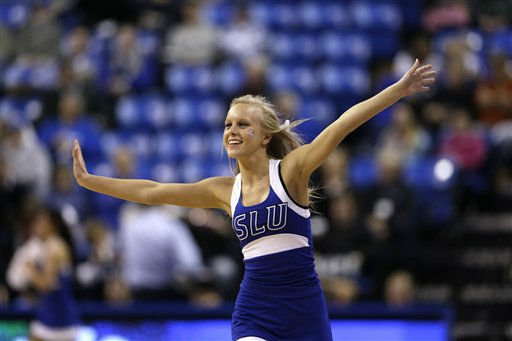 A Saint Louis University cheerleader performs during the first half of an NCAA college basketball game between Saint Louis and Saint Joseph&#39;s Wednesday, Feb. 27, 2013, in St. Louis. &#40;AP Photo&#47;Jeff Roberson&#41;  <span class=meta>(AP Photo&#47; Jeff Roberson)</span>