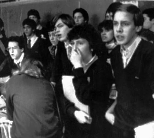 Students at Marian High School in Framingham, Mass., appear stunned as they watch a telecast of the explosion of the Space Shuttle Challenger, Tuesday, Jan. 28, 1986.  Schoolteacher Christa McAuliffe, who died with the rest of the crew in the disaster, was a Framingham native and a 1966 graduate of the high school.   <span class=meta>(AP Photo&#47; PAUL KAPTEYN)</span>