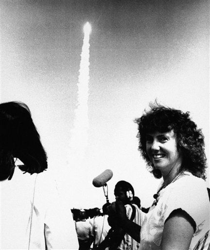"<div class=""meta ""><span class=""caption-text "">In this photo provided by NASA, Sharon Christa McAuliffe, the first teacher chosen to ride in the Space Shuttle, and who was aboard the Space Shuttle orbiter Challenger, Jan. 28, 1986 when it blew up just after liftoff from the Kennedy Space Center, is seen here watching the October 1985 launch of the Challenger.  (AP Photo/ NASA)</span></div>"