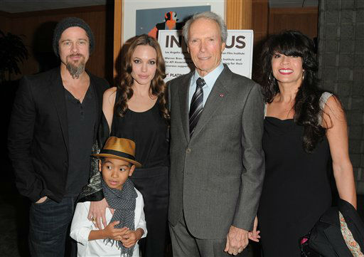 BEVERLY HILLS, CA - DECEMBER 03:  Brad Pitt, Angelina Jolie and their son Maddox Jolie-Pitt and Clint Eastwood attend the &#34;Invictus&#34; Los Angeles Premiere at the Academy of Motion Picture Arts and Sciences on December 3, 2009 in Beverly Hills, California.   <span class=meta>(Photo&#47;Jordan Strauss)</span>