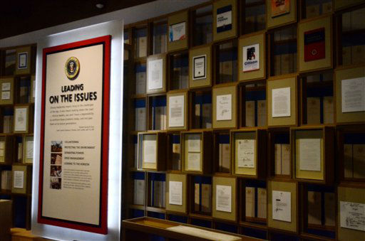 In this photo taken April 16, 2013, a variety of different documents from the president George W. Bush administration are on display in the museum area at the George W. Bush Presidential Library and Museum in Dallas. The museum uses everything from news clips to interactive screens to artifacts to tell the story of Bush?s eight years in office. The George W. Bush Presidential Center, which includes the library and museum along with 43rd president?s policy institute, will be dedicated Thursday on the campus of Southern Methodist University in Dallas. &#40;AP Photo&#47;Benny Snyder&#41; <span class=meta>(AP Photo&#47; Benny Snyder)</span>