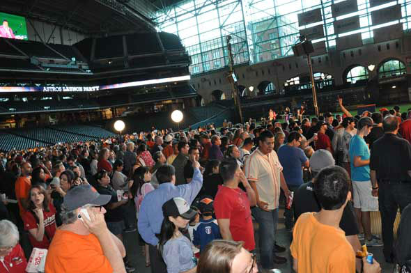 "<div class=""meta ""><span class=""caption-text "">The Astros unveiled their new logo, uniform, cap and mascot in front of thousands of fans Friday night at Minute Maid Park. (KTRK Photo)</span></div>"