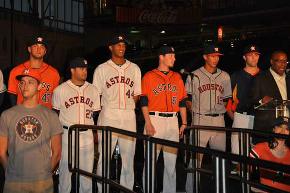 "<div class=""meta image-caption""><div class=""origin-logo origin-image ""><span></span></div><span class=""caption-text"">The Astros unveiled their new logo, uniform, cap and mascot in front of thousands of fans Friday night at Minute Maid Park. (KTRK Photo)</span></div>"