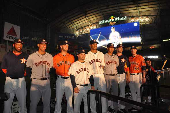 The Astros unveiled their new logo, uniform, cap and mascot in front of thousands of fans Friday night at Minute Maid Park. <span class=meta>(KTRK Photo)</span>