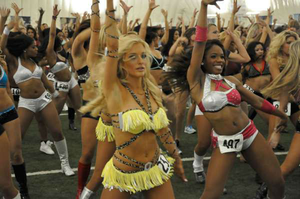Hundreds of Houston Texans cheerleader hopefuls, including one male, danced for the judges to make the squad <span class=meta>(KTRK Photo)</span>