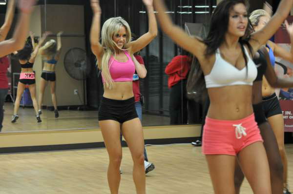 The 45 finalists for the 2012 Houston Texans Cheerleaders practiced together for the first time at the Houstonian Lite Health Club  <span class=meta>(KTRK Photo)</span>