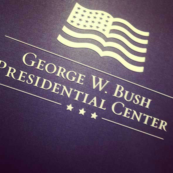 Reporter Tom Abrahams with photojournalist Wes Sewell for a tour of the George W. Bush Presidential Center. Five US Presidents will attend opening ceremony Thursday. <span class=meta>(ABC13&#47;Tom Abrahams)</span>