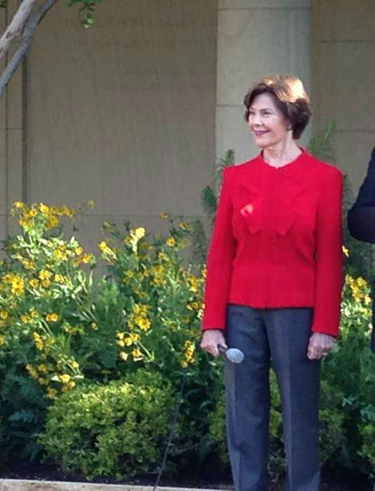 "<div class=""meta ""><span class=""caption-text "">Surprise visit by former First Lady Laura Bush at tour of new George W. Bush Presidential Center at SMU. (ABC13/Tom Abrahams)</span></div>"