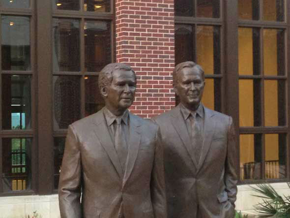 "<div class=""meta ""><span class=""caption-text "">Bronze statues of Presidents Bush at George W. Bush Presidential Center. Getting a sneak peak inside new facility Wed. morning. (ABC13/Tom Abrahams)</span></div>"