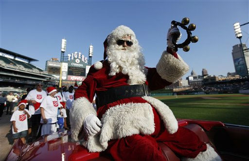 An actor dressed as Santa Claus is shown before a baseball game between the Detroit Tigers and the Oakland Athletics, Wednesday, July 20, 2011, in  Detroit. &#40;AP Photo&#47;Paul Sancya&#41; <span class=meta>(AP Photo&#47; Paul Sancya)</span>