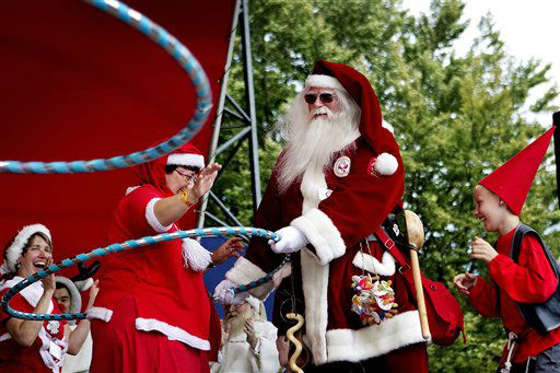 "<div class=""meta image-caption""><div class=""origin-logo origin-image ""><span></span></div><span class=""caption-text"">The World Santa Claus Congress, held at Bakken in Klampenborg, north of Copenhagen on Monday July 23, 2012. The World Santa Claus Congress ends Thursday. (AP Photo/POLFOTO, Finn Frandsen)  DENMARK OUT (AP Photo/ FRANDSEN FINN)</span></div>"