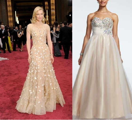 The look for less: Strapless asymmetrical beaded tulle ball gown David's Bridal Collection: $299  Every-day women can acheieve the bridal-esque look of Cate Blanchett's chapagne ball gown with this show-stopping dress. The intricate beading and dramatic skirt give it that wow factor that the red carpet is all about! With its strapless sweetheart neckline and asymmetrical sparkling embroidered bodice, this ball gown embodies all the glita and glam of the Oscars.