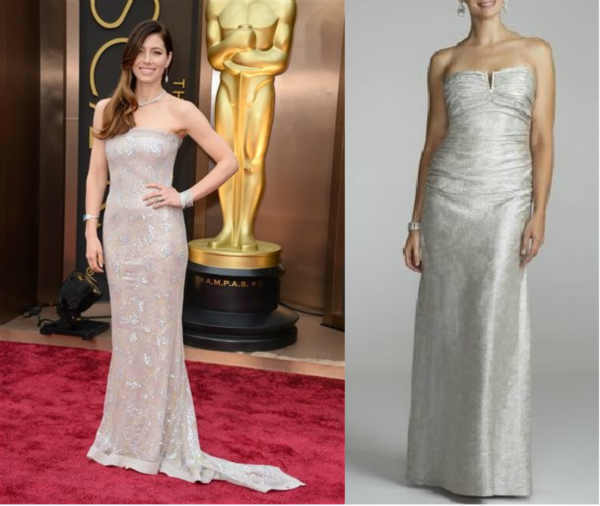 "<div class=""meta ""><span class=""caption-text "">The look for less: Strapless metallic foil ruched dress  David's Bridal Collection: $149  Metallics were a big trend on the red carpet this past Sunday at the Oscars! This champagne stunner resembles the elegance of Jessica Biel's metallic gown. The strapless neckline and hip-hugging silhouette make it perfect for every fashionista looking to achieve this glamorous look, featuring a ruched empire bust and metallic foil skirt.</span></div>"