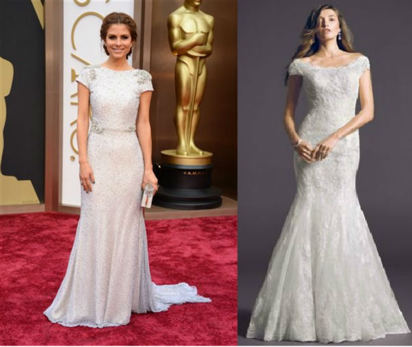 The look for less: Off the shoulder chantilly lace trumpet gown Oleg Cassini Collection: $1350  Maria Menounos' white-hot frock was all the rage on the red carpet! Shades of white such as ivory and cream were extremely popular, making this fit-and-flare silhouette an absolute hit. Its stunning chantilly lace detail and sexy off-the-shoulder neckline make this dress the ultimate go-to both on and off the red carpet.
