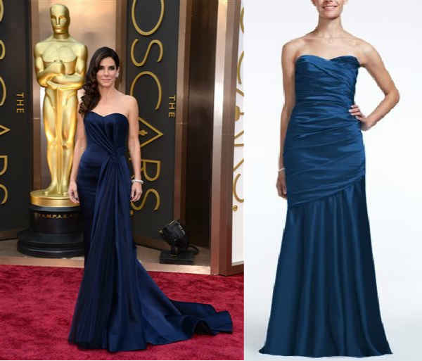 The look for less: Long strapless stretch satin dress  David's Bridal Collection: $169  Resemble the timeless look of Sandra Bullock's gorgeous navy blue gown with this satin stunner! The fit and flare silhouette is both on-trend and super flattering, making this dress an ultimate must-have for many celebs like Sandra. Everyday fashionistas can achieve her fabulous red carpet look with this stretch satin trumpet beauty featuring ultra-feminine body con fit and structured pleating.
