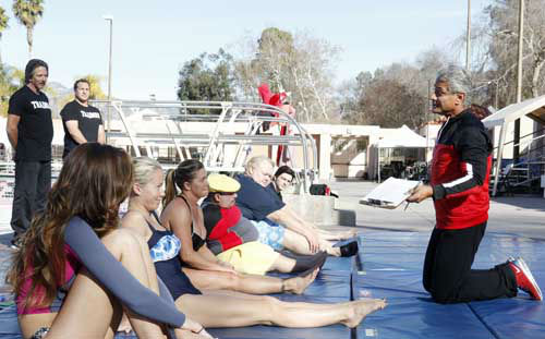 "<div class=""meta ""><span class=""caption-text "">SPLASH - ""Splash"" marks the first time 10 celebrities will train and compete in regulation platform and springboard diving at dizzying heights in front of a weekly poolside audience. Leading up to the competition, the world's most decorated and medaled diving legend, Greg Louganis, will give each celebrity weeks of training. Each dive will be critiqued by the judges, London Olympic U.S. Gold medalist David Boudia and Australian Olympic athlete and USA Dive Team director Steve Foley. ""Splash"" premieres TUESDAY, MARCH 19 (8:00-9:00 p.m., ET) on The ABC Television Network. (ABC/KELSEY MCNEAL) KATHERINE WEBB, KENDRA WILKINSON, NICOLE EGGERT, CHUY BRAVO, LOUIE ANDERSON, DRAKE BELL, GREG LOUGANIS (Photo/Kelsey McNeal)</span></div>"