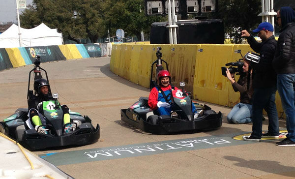 "<div class=""meta ""><span class=""caption-text "">Jimmy Kimmel's sidekick, Guillermo, takes to the track at SXSW (Photo/ABC13)</span></div>"