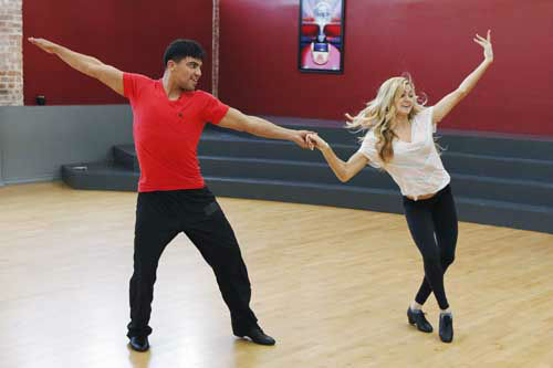 "<div class=""meta image-caption""><div class=""origin-logo origin-image ""><span></span></div><span class=""caption-text"">DANCING WITH THE STARS - REHEARSALS - This season's dynamic lineup of stars  will perform for the first time on live national television with their professional partners during the two-hour season premiere of ""Dancing with the Stars,"" MONDAY, MARCH 18 (8:00-10:01 p.m., ET) on the ABC Television Network. (ABC/Rick Rowell) VICTOR ORTIZ, LINDSAY ARNOLD (Photo/Rick Rowell)</span></div>"