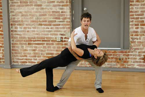 "<div class=""meta image-caption""><div class=""origin-logo origin-image ""><span></span></div><span class=""caption-text"">DANCING WITH THE STARS - REHEARSALS - This season's dynamic lineup of stars  will perform for the first time on live national television with their professional partners during the two-hour season premiere of ""Dancing with the Stars,"" MONDAY, MARCH 18 (8:00-10:01 p.m., ET) on the ABC Television Network. (ABC/Rick Rowell) TRISTAN MACMANUS, DOROTHY HAMILL (Photo/Rick Rowell)</span></div>"