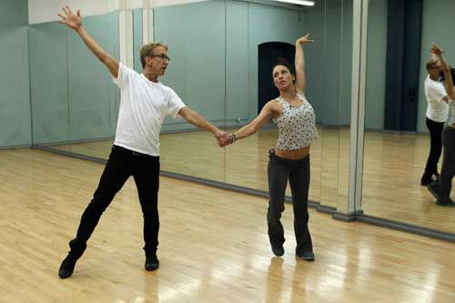 "<div class=""meta image-caption""><div class=""origin-logo origin-image ""><span></span></div><span class=""caption-text"">DANCING WITH THE STARS - REHEARSALS - This season's dynamic lineup of stars  will perform for the first time on live national television with their professional partners during the two-hour season premiere of ""Dancing with the Stars,"" MONDAY, MARCH 18 (8:00-10:01 p.m., ET) on the ABC Television Network. (ABC/Rick Rowell) ANDY DICK, SHARNA BURGESS (Photo/Rick Rowell)</span></div>"