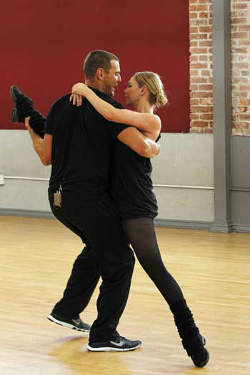 "<div class=""meta image-caption""><div class=""origin-logo origin-image ""><span></span></div><span class=""caption-text"">DANCING WITH THE STARS - REHEARSALS - This season's dynamic lineup of stars  will perform for the first time on live national television with their professional partners during the two-hour season premiere of ""Dancing with the Stars,"" MONDAY, MARCH 18 (8:00-10:01 p.m., ET) on the ABC Television Network. (ABC/Rick Rowell) INGO RADEMACHER, KYM JOHNSON (Photo/Rick Rowell)</span></div>"