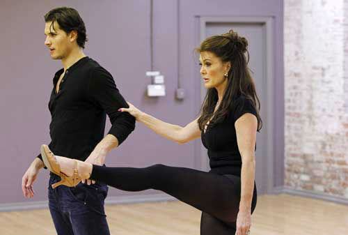 "<div class=""meta image-caption""><div class=""origin-logo origin-image ""><span></span></div><span class=""caption-text"">DANCING WITH THE STARS - REHEARSALS - This season's dynamic lineup of stars  will perform for the first time on live national television with their professional partners during the two-hour season premiere of ""Dancing with the Stars,"" MONDAY, MARCH 18 (8:00-10:01 p.m., ET) on the ABC Television Network. (ABC/Rick Rowell) GLEB SAVCHENKO, LISA VANDERPUMP (Photo/Rick Rowell)</span></div>"