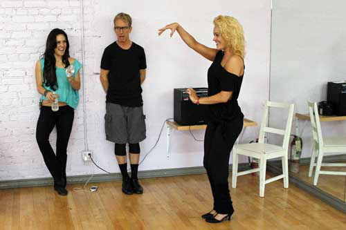 "<div class=""meta image-caption""><div class=""origin-logo origin-image ""><span></span></div><span class=""caption-text"">DANCING WITH THE STARS - REHEARSALS - This season's dynamic lineup of stars  will perform for the first time on live national television with their professional partners during the two-hour season premiere of ""Dancing with the Stars,"" MONDAY, MARCH 18 (8:00-10:01 p.m., ET) on the ABC Television Network. (ABC/Rick Rowell) SHARNA BURGESS, ANDY DICK, PETA MURGATROYD (Photo/Rick Rowell)</span></div>"