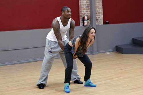"<div class=""meta image-caption""><div class=""origin-logo origin-image ""><span></span></div><span class=""caption-text"">DANCING WITH THE STARS - REHEARSALS - This season's dynamic lineup of stars  will perform for the first time on live national television with their professional partners during the two-hour season premiere of ""Dancing with the Stars,"" MONDAY, MARCH 18 (8:00-10:01 p.m., ET) on the ABC Television Network. (ABC/Rick Rowell) JACOBY JONES, KARINA SMIRNOFF (Photo/Rick Rowell)</span></div>"