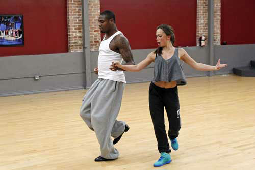 "<div class=""meta ""><span class=""caption-text "">DANCING WITH THE STARS - REHEARSALS - This season's dynamic lineup of stars  will perform for the first time on live national television with their professional partners during the two-hour season premiere of ""Dancing with the Stars,"" MONDAY, MARCH 18 (8:00-10:01 p.m., ET) on the ABC Television Network. (ABC/Rick Rowell) JACOBY JONES, KARINA SMIRNOFF (Photo/Rick Rowell)</span></div>"