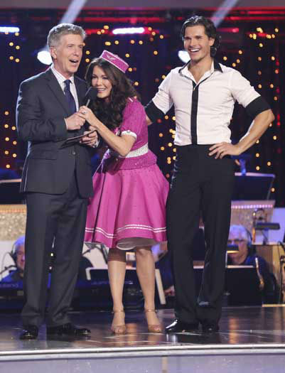 "<div class=""meta image-caption""><div class=""origin-logo origin-image ""><span></span></div><span class=""caption-text"">DANCING WITH THE STARS THE RESULTS SHOW - ""Episode 1602A"" - On TUESDAY, MARCH 26, one couple will face the first nail biting elimination on the season premiere of ""Dancing with the Stars the Results Show"" (9:00-10:01 p.m., ET). The show will feature a musical performance by signer Josh Groban, who is set to perform his current single, ""Brave,"" with an 18-piece band accompanied by ""Dancing with the Stars"" alumni Chelsie Hightower and Dmitry Chaplin. Adding to the excitement, acclaimed Swedish duo Icona Pop will perform their hit song, ""I Love It."" The results show will feature a spectacular opening performance by this season's pros and Troupe dancers. (ABC/Adam Taylor) TOM BERGERON, LISA VANDERPUMP, GLEB SAVCHENKO (Photo/Adam Taylor)</span></div>"