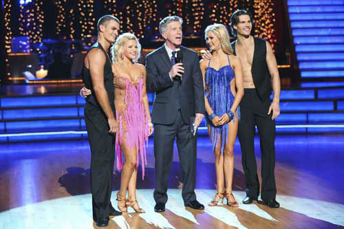 "<div class=""meta ""><span class=""caption-text "">DANCING WITH THE STARS THE RESULTS SHOW - ""Episode 1602A"" - On TUESDAY, MARCH 26, one couple will face the first nail biting elimination on the season premiere of ""Dancing with the Stars the Results Show"" (9:00-10:01 p.m., ET). The show will feature a musical performance by signer Josh Groban, who is set to perform his current single, ""Brave,"" with an 18-piece band accompanied by ""Dancing with the Stars"" alumni Chelsie Hightower and Dmitry Chaplin. Adding to the excitement, acclaimed Swedish duo Icona Pop will perform their hit song, ""I Love It."" The results show will feature a spectacular opening performance by this season's pros and Troupe dancers. (ABC/Adam Taylor) JULIAN TOCKER, WITNEY CARSON, TOM BERGERON, LINDSAY ARNOLD, GLEB SAVCHENKO (Photo/Adam Taylor)</span></div>"
