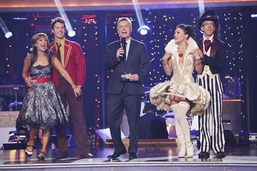 "<div class=""meta ""><span class=""caption-text "">DANCING WITH THE STARS THE RESULTS SHOW - ""Episode 1602A"" - On TUESDAY, MARCH 26, one couple will face the first nail biting elimination on the season premiere of ""Dancing with the Stars the Results Show"" (9:00-10:01 p.m., ET). The show will feature a musical performance by signer Josh Groban, who is set to perform his current single, ""Brave,"" with an 18-piece band accompanied by ""Dancing with the Stars"" alumni Chelsie Hightower and Dmitry Chaplin. Adding to the excitement, acclaimed Swedish duo Icona Pop will perform their hit song, ""I Love It."" The results show will feature a spectacular opening performance by this season's pros and Troupe dancers. (ABC/Adam Taylor) DOROTHY HAMILL, TRISTAN MACMANUS, TOM BERGERON, SHARNA BURGESS, ANDY DICK (Photo/Adam Taylor)</span></div>"