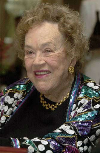 Culinary legend Julia Child smiles just before receiving the Legion of Honor, Sunday, Nov. 19, 2000, in Boston. The award is the highest honor bestowed by the French government in recognition of outstanding military and civil service to the French nation. &#40;AP Photo&#47;Michael Dwyer&#41; <span class=meta>(AP Photo&#47; MICHAEL DWYER)</span>