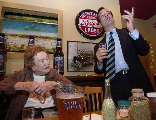 Renowned chef Julia Child, left, listens while Jim Koch, founder and brewer of Samuel Adams Beers, describes a lager during a tasting at the Sam Adams Brewery in Boston&#39;s Jamaica Plain, Monday, July 9, 2001. The famous French chef, who turns 89 in August, will head west in November for a retirement community in Montecito, Calif., about 90 miles from Pasadena, where she grew up. &#40;AP Photo&#47;Elise Amendola&#41; <span class=meta>(AP Photo&#47; ELISE AMENDOLA)</span>