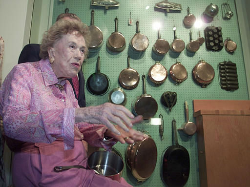 American cooking icon Julia Child talks about her 90th birthday and answers questions after donating a peg board wall of her cookware to COPIA in Napa, Calif., Friday Aug. 2, 2002.  The wall was from her home and was also used on her television show.  COPIA is museum for food, wine, and art and is hosting a three-day celebration of Julia Child&#39;s 90th birthday.&#40;AP Photo&#47;Eric Risberg&#41; <span class=meta>(AP Photo&#47; ERIC RISBERG)</span>