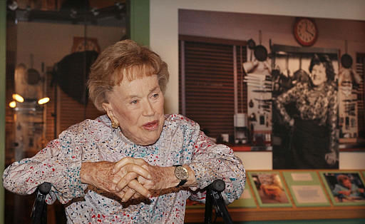 Chef Julia Child talks to reporters at the opening of  her kitchen exhibition at the Smithsonian&#39;s National Museum of American History in  Washington, Monday, Aug. 19, 2002.  Child donated her entire kitchen to the institution after deciding to move to California,  from her Cambridge, Mass., home. Child became an official part of the national heritage on Monday, belatedly celebrating her 90th birthday at the opening {AP Photo&#47;Dennis Cook&#41; <span class=meta>(AP Photo&#47; DENNIS COOK)</span>