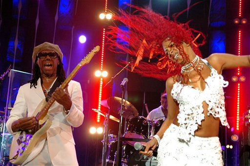 **FILE**In this July 14, 2005 file photo, Nile Rodgers, left, and singer Sylver Sharp, right, perform with their disco-funk group Chic during the  Montreux Jazz Festival in Montreux, Switzerland. Chic are among the nine nominees for next year&#39;s hall of fame class, the Rock and Roll Hall of Fame Foundation announced Monday Sept. 22, 2008.  <span class=meta>(AP Photo&#47; LAURENT GILLIERON)</span>