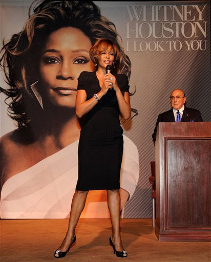In this image provided by Sony Music singer Whitney Houston and Chief Creative Officer, Sony Music Worldwide, Clive Davis, right, are shown during the Whitney Houston &#34;I Look To You&#34; CD Listening Party held at the Beverly Hilton Hotel on Thursday July 23, 2009 in Beverly Hills, California. &#40;AP Photo&#47;Frank Micelotta - Sony Music&#41; <span class=meta>(AP Photo&#47; Frank Micelotta)</span>