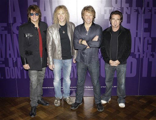 "<div class=""meta ""><span class=""caption-text "">FILE - In this June 7, 2010 file photo, U.S rock band Bon Jovi, from left, guitarist Richie Sambora, keyboardist David Bryan, lead singer Jon Bon Jovi and drummer Tico Torres pose during a photocall at the start of their show in east London. (AP Photo/ Joel Ryan)</span></div>"