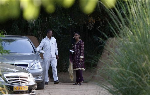 An unidentified guest leaves the Sher Bagh jungle resort for the Aman e-Khas wildlife retreat, the venue for the wedding of British comedian Russell Brand and American pop singer Katy Perry, in Ranthambore, India, Saturday, Oct. 23, 2010. Guests were arriving Saturday at the luxury resort in a tiger reserve in northwestern India to attend the Indian-style wedding of Brand and Perry. Security has been stringent with private security guards stationed at the resort and other nearby hotels where guests and the couple are staying for the six-day wedding celebration. &#40;AP Photo&#47;Mustafa Quraishi&#41; <span class=meta>(AP Photo&#47; Mustafa Quraishi)</span>