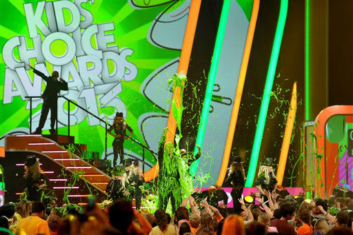 "<div class=""meta ""><span class=""caption-text "">Pitbull gets slimed at the 26th annual Nickelodeon's Kids' Choice Awards on Saturday, March 23, 2013, in Los Angeles.   (Photo/John Shearer)</span></div>"